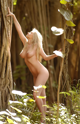 Naked in the woods... That is what blonde Alison Angel is in...