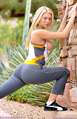 Fetching blonde gal Alison Angel relaxes by taking jog...