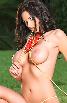 Tall woman with dark hair, Amanda Hanshaw has firm boobs and...