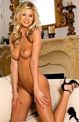 Tall blonde lady with long legs, Amanda Paige is slowly...