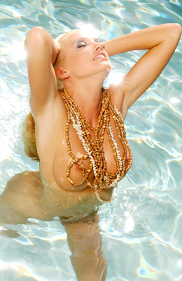 Blonde horny princess Ann Poll is in the pool on a sunny...