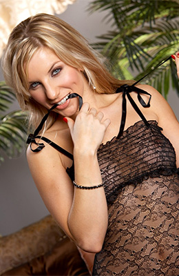 Gorgeous blonde, Ashley Fires likes wearing black, lacy...