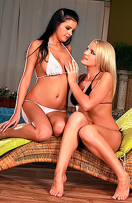 Turned on babe Britney Spring and her horny tanned lesbian...