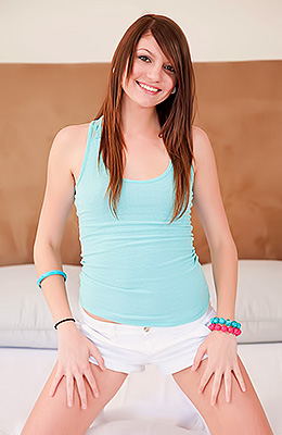 Young and inexperienced looking brunette babe Cassandra Nix...