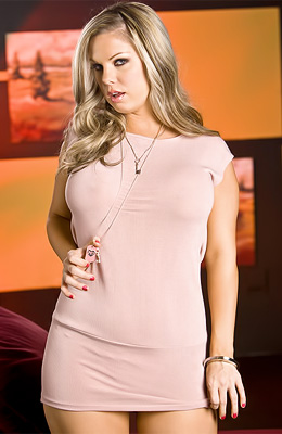 A tight fitting dress is making blonde big breasted model...