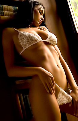 Romantic brunette in lacy, white lingerie, Jo Garcia decided...