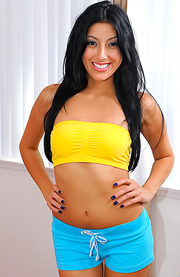 Super hot brunette, Kimberly Gates has a huge smile on her...