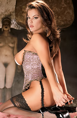 Classy Playboy model Nancy Erminia is wearing sexy black...