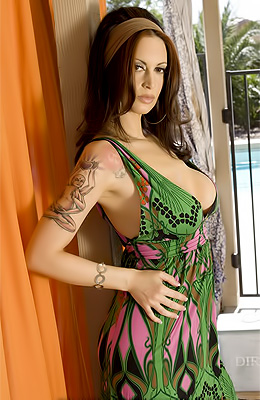 Nikki Nova dressed in a sexy green summer dress getting all...