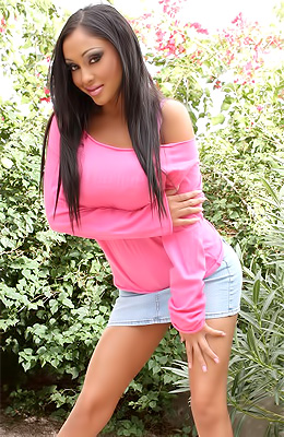 Priya Anjali Rai in a sexy pink top and tight light blue...