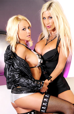 Blonde XXX babe Puma Swede is wearing black leather boots...