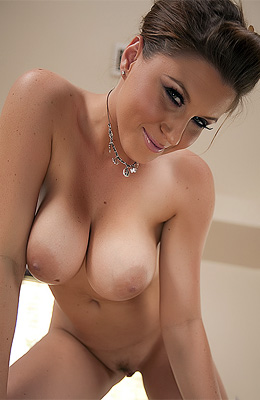 Busty and creamy beauty Sara Stone is getting naked for us...