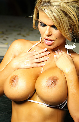 Busty blonde, Sophia Rossi is posing in her private spa and...