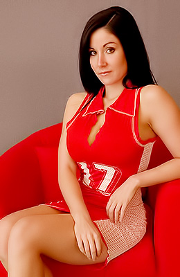 Sweet Krissy was wearing red, sporty dress when her partner...