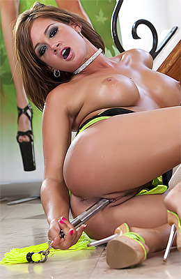Tory Lane wearing a sexy green bikini nad a hot little skirt...