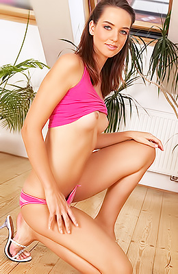 Slender teen girl, Veronika J is having an online date with...