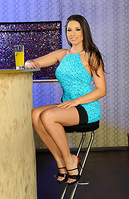 Pale aroused brunette babe in heels Zafira enjoys in...