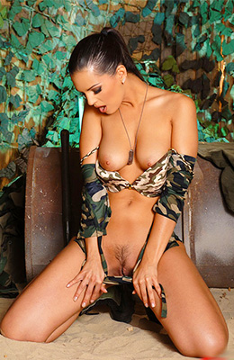 Brunette military babe Eve Angel completes her basic...