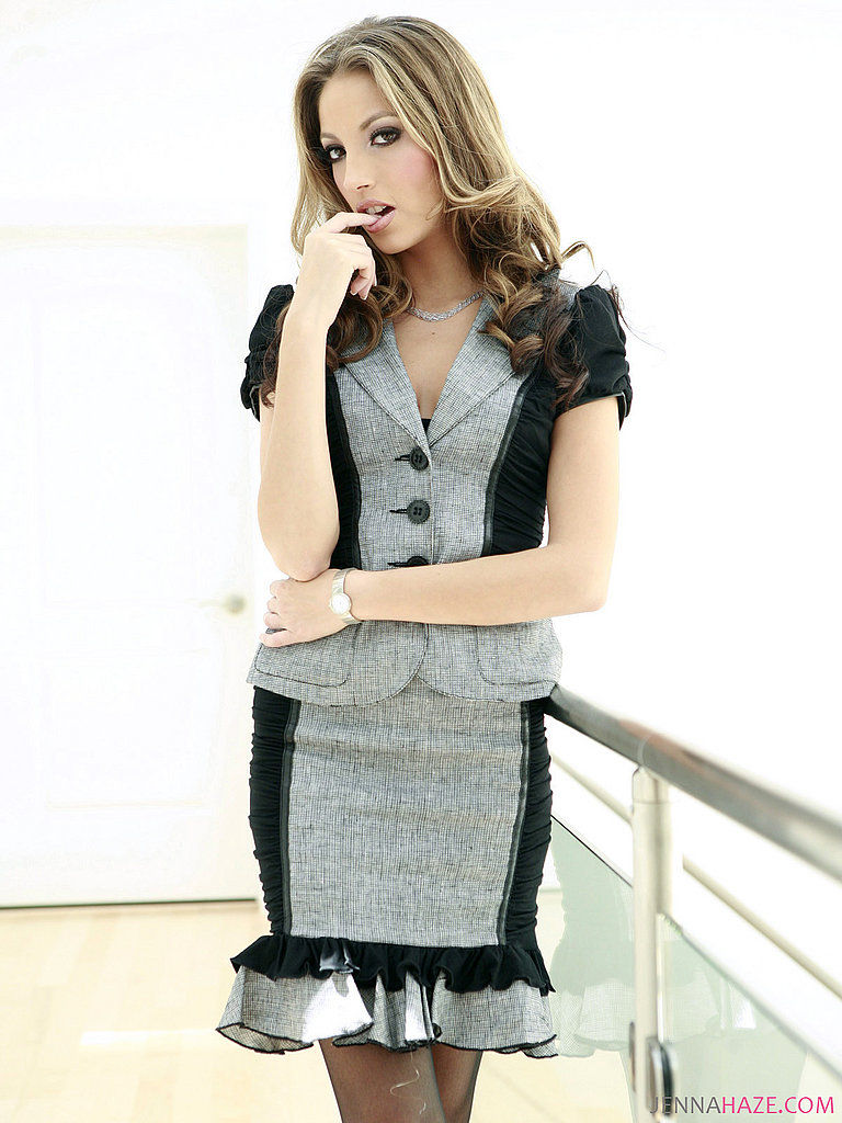 Jenna Haze - Sexy black stockings and a short skirt is