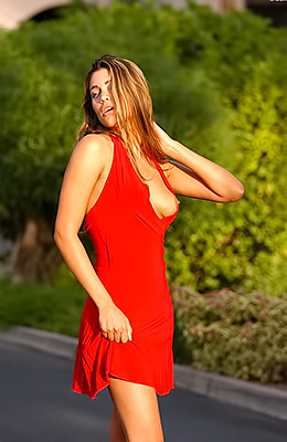 Lusty babe Paola Rey goes from sexy lady in red to a raunchy...